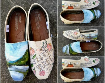 Bride's Love Story Shoes Unique TOMS Wedding Flats Wedding Shoes Gift for the Bride Love Story Bride's Shoes Outdoor Boho Wedding Bride