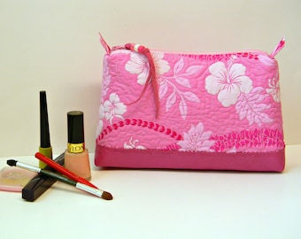 Hawaiian Pink Cosmetic Bag Authentic Tropical Floral Fabric Make Up Bag Quilted Zippered Pouch Bright White Pink Toiletry Storage Bag OOAK