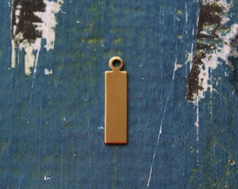 "11/16"" Brass Rectangle Stamping Blank- Rectangle With Ring - Pack of 10 - 24 Gauge - Jewelry Stamping Blank- SGMET-410.40"