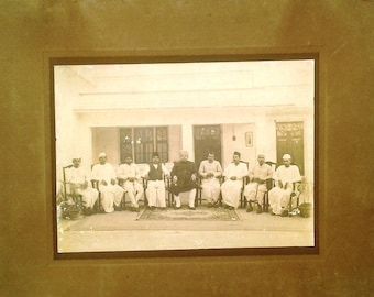 Vintage Photograph King Of Ara ,Bihar India With His Cabinet