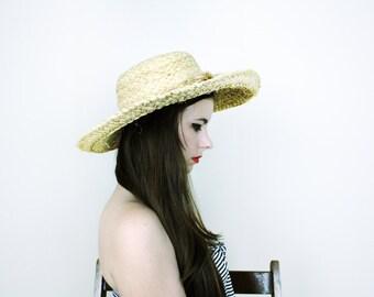 Straw Sun Hat . 1960s Wide Brim Straw Hat Beach Hat Summer hat Sunhat Vintage hat 60s hat Retro hat Hipster hat Mod hat Playful hat