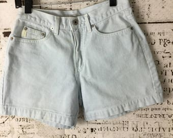 Vintage 1980's Guess Jean Shorts Size 27 High Waist Light Wash Made in the USA