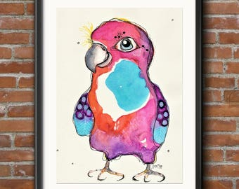 CLEARANCE SALE 50% OFF Patrice - Quirky Rainbow Parrot - Original Watercolor Abstract Bird Painting
