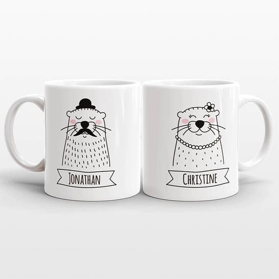 Set of 2 CUSTOM Mugs, Name Mugs, Otter Couple Mugs, Anniversary Gift for Men Boyfriend Gift, Personalized Wedding Gift Set, Cute Coffee Mugs