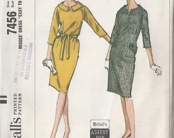 """MCCALLS 7456 Vintage pattern 1960s Misses Dress """"Easy to Sew"""" SZ 14-16 Bust 34-36 Factory folds"""