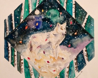 Wolf Coyote painting, Original Watercolour, Autumn watercolor, fall watercolor, starry night, geometric art, gallery wall, living room art