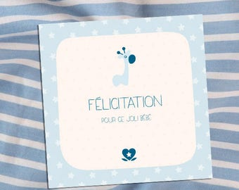 For a boy and girl birth congratulations card
