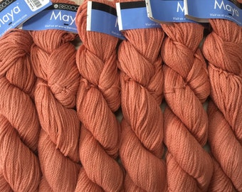 Berroco MAYA Pima +5 Patterns 7.99+1.50ea to Ship - Pima Cotton & Baby Alpaca PAPAYA 5639 - Soft, Drapey Worsted Weight Burnt Orange Yarn.