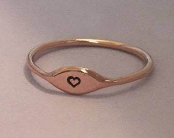 One Tiny 14k Rose Gold Letter Stacking Ring Personalized with Initial or Symbol