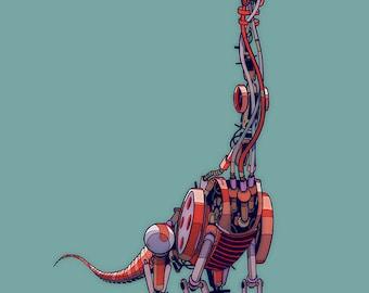 Brachiosaurus Robosaur art print 7x5