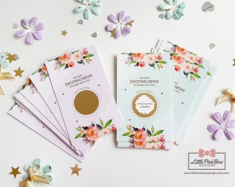 10 Pregnancy Announcement Scratch Off Cards, Pregnancy Reveal Scratch-Off Card, We're Having a Baby, Pregnancy Announcement, Pregnancy Cards
