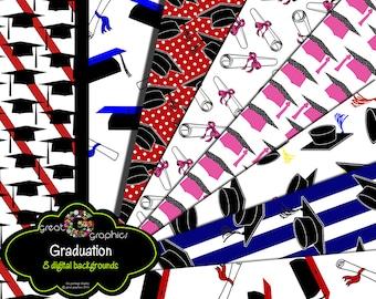Graduation Paper Graduation Cap Diploma Graduation Digital Paper Printable Party Paper- Instant Download