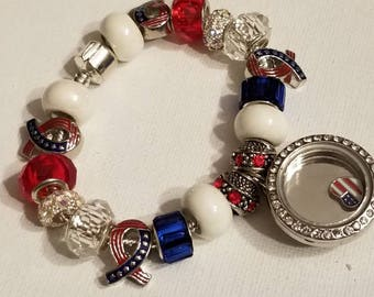 911 Bracelet, Locket Bracelet, In Loving Memory, European Charm Bracelet, American Flag, Red, White, Blue Ribbon Beads, NEVER FORGET