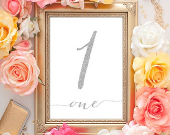 Silver Table Numbers 1-25 (Entire Set!) - 5x7 Wedding Table Numbers Silver, Table Card Numbers, Printable Wedding Decor