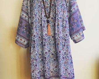 Boho cotton print summer dress