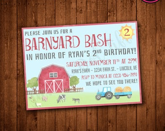 Watercolor Farm Birthday Invitation (Printable)