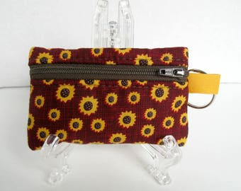 Sunflower Coin Purse - Change Purse - Fall Zip Pouch - Key Chain Coin Purse - Small Zipper Pouch - Sunflower Ear Bud Case