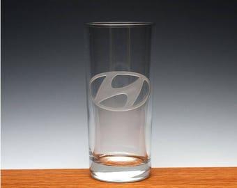Engraved Hyundia Drinking Glass