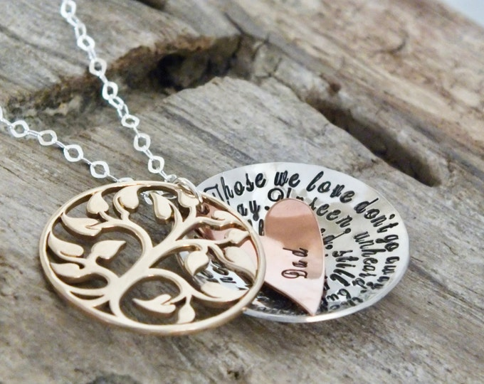 Personalized Memorial Jewelry | Gifts | Sterling Silver | Those We Love Don't Go Away | Hand Stamped | Tree Necklace | Personalized Jewelry