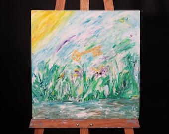 KEY NATURE / original painting on paper canvas 40 cm x 40 cm