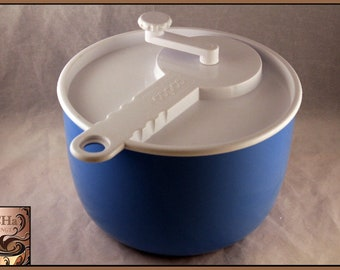 Vintage Copco Blue and White Salad Spinner