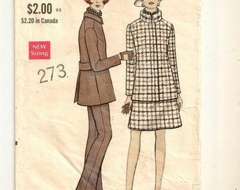 """A Long Sleeve, Stand-Up Collar, Back Pleat/Belt, Shaped Jacket, A-Line Skirt & Flared Pants Pattern for Women: Size 12 Bust 34"""" • Vogue 7496"""