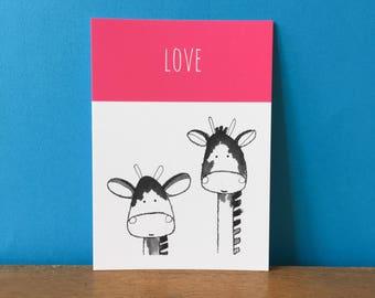 Giraffe Love A6 card