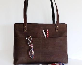 Cork Bag with Zip, Vegan bag, Zipper Brown Cork Bag, Eco Friendly Purse for Women