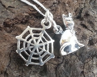 Sterling Silver Cat Spider Web Necklace Witchy Necklace
