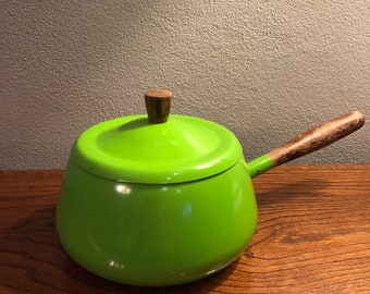 Vintage Lime Green Fondue Pot With Lid