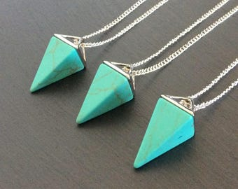 Turquoise point necklace turquoise pendant dyed howlite turquoise necklace turquoise jewelry turquoise pendant turquoise stone crystal necklace crystal point turquoise point turquoise aloadofball Images
