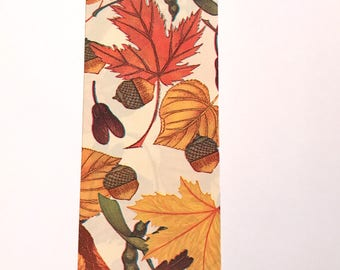 Autumn Leaves Ribbon, Indoor - Outdoor Fall Ribbon, Gold, Orange, Brown, Acorns, 3 YARDS, 2.5 in. wide, Harvest, Waterproof Fall Ribbon