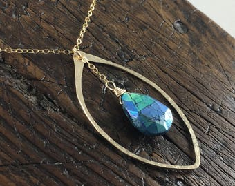 Hammerd Gold Filled Leaf Shape Pendant with a Blue Chrysocolla Faceted  Gemstone // Gold Filled Chain Necklace