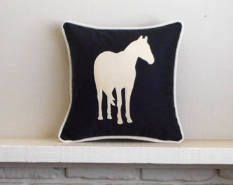 Horse Pillow Cover or add INSERT, Equestrian home decor, Pony or horse lover gift, Horse Pillowcase