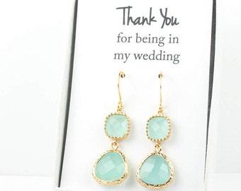 Long Mint Gold Earrings, Gold Mint Earrings, Mint Green Gold Earrings, Bridesmaid Jewelry, Green Wedding Jewelry, Bridesmaid Gift