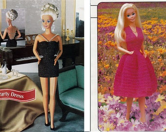 Party Dress and Swingy Sundress Crochet Patterns Annies Fashion Doll Crochet Club FCC15-04