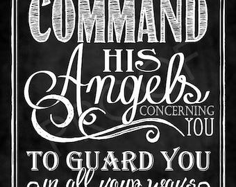 Scripture Chalkboard Art - Psalm 91:11