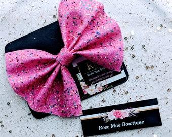 Pink Confetti Bow
