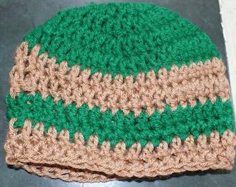 Newborn Baby Hat, Green Crochet Baby Skull Cap, Baby Christmas Hat, Crochet Newborn Hat, Infant Hat, Green Crochet Hat, Green and Tan