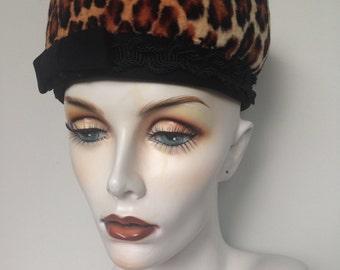 High Fashion Faux Fur Pinup Hat / Mad Men Rockabilly Vintage 50s Hat / Cream Brown And Black Animal Print