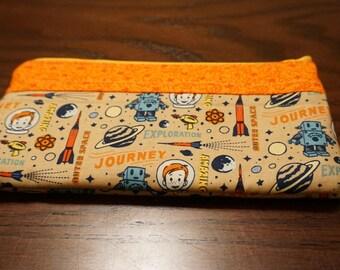 "Retro Space Pouch/Pencil Case/Makeup Bag/Coin Purse (8.5"")"