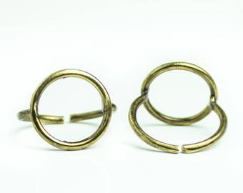 Midi Circle Ring Antique Bronze Round Adjustable Boho Chic Jewelry Knuckle Ring Stacking Bohemian Rings Minimalistic 18mm Wire finger Rings