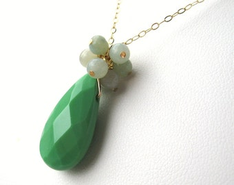 Spring Green Necklace, Gold Chain Necklace, Faceted Green Glass Teardrop Pendant, Light Blue Cluster, Handmade, Esme