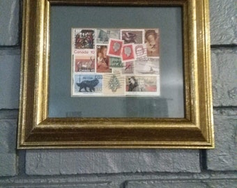 Canadian Postage Stamp Collection #1; Used Postage Stamps; Collage; Stamp Art; Handmade; Homemade
