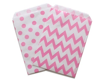 Party Favor Bag, Paper Favor Bags, Pink Polka Dot Chevron Paper Favor Bags, Gender Reveal Favor Bags, Baby Shower, 1st birthday Party Favors
