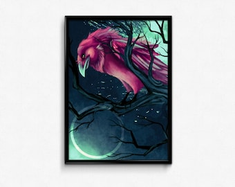 PRINT. Purple raven crow in tree branches with surreal blue background. Surreal bird art print. Handsigned. Letter size print 8,5x11 inches