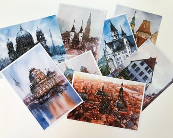 Digital printed postcards made from my watercolor paintings, Germany