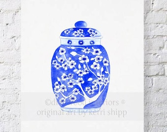 Ginger Jar in Indigo Print