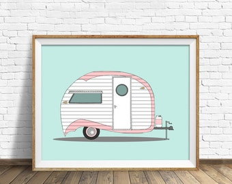 Pink Strip Teardrop - drawing, art print, vintage camper, large art, large wall art, modern, contemporary, mid century modern, wall art, art