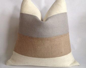 Cream, Light Gray And Natural Burlap Horizontal Striped Pillow Cover
